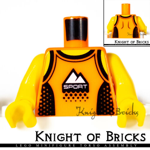 LEGO Minifigure Torso 437 ORANGE Male Tank Top with Black Straps and Side Panels