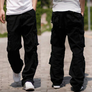 c5896dfa586 Casual Summer Spring Mens Cargo Pants Baggy Fit Loose Overalls Hip ...