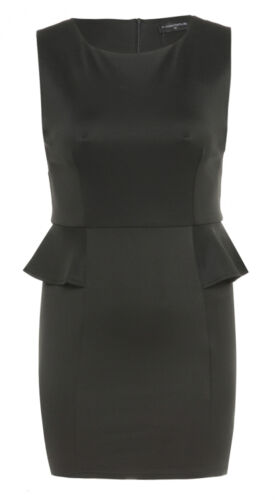 NEW WOMENS PLUS SIZE BLACK MINI PEPLUM DRESS LADIES EVENING PARTY DRESS 16-26