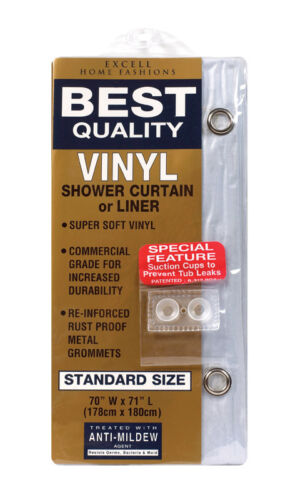 Excell  70 in H x 71 in W Clear  Solid  Shower Curtain Liner