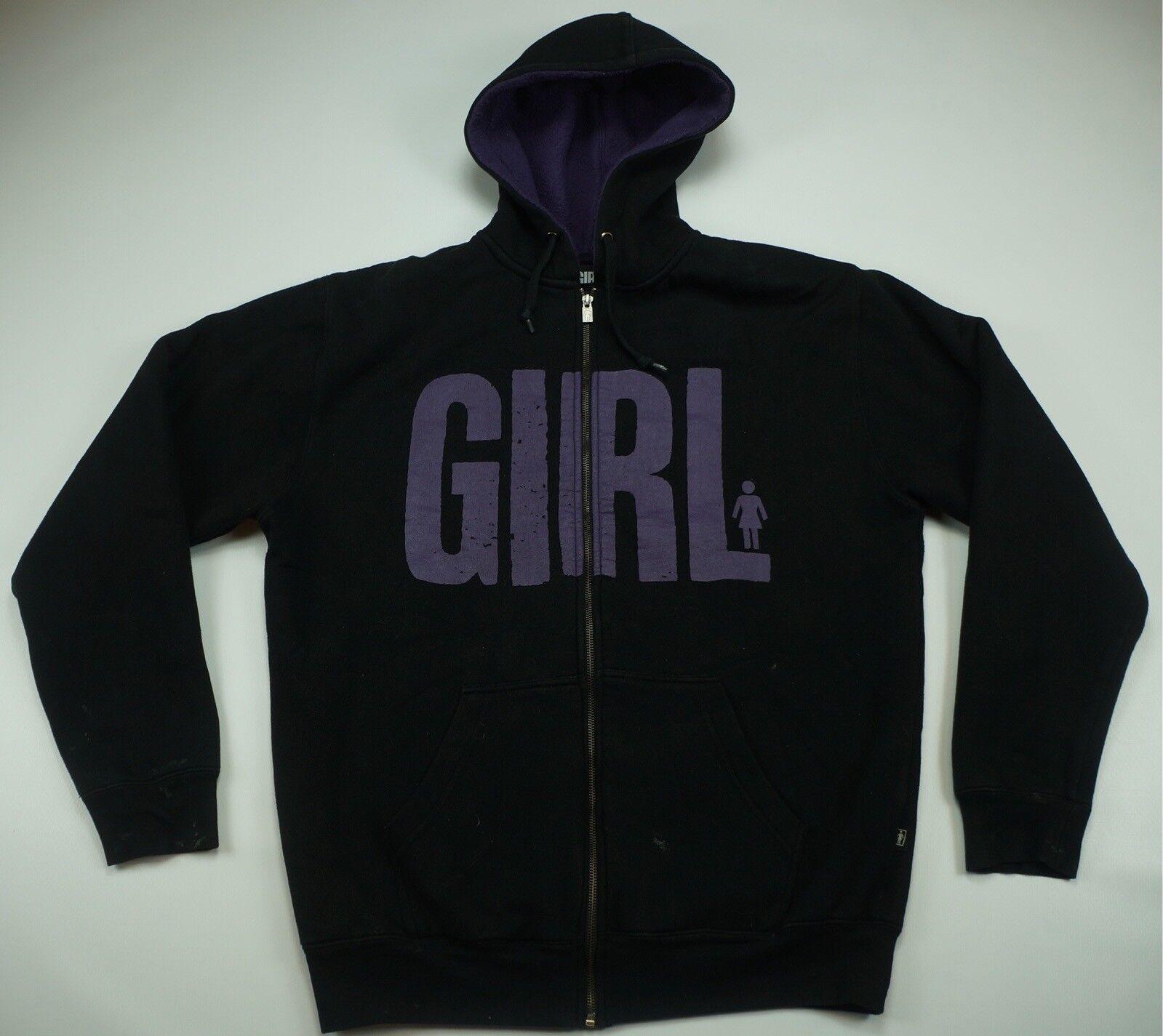 Rare Vintage GIRL Skateboards Spell Out Full Zip Hoodie Hoodie Hoodie Sweatshirt 90s M c2d865