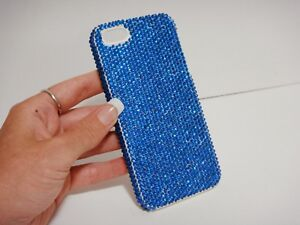 Plain-Blue-Azure-Made-with-Swarovski-Crystals-iPhone-7-8-Plus-Bling-Case-Cover