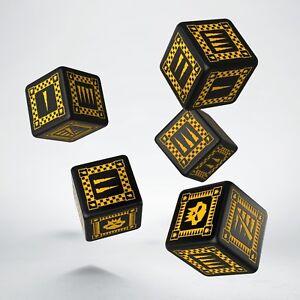 Noir & jaune dés de jeux des ORQUES par Q-workshop