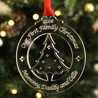 Personalised First Family Christmas Xmas Tree Bauble Decoration Keepsake Gift