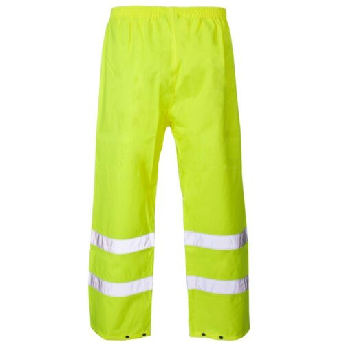 Supertouch Yellow Hi High Vis Visibility PU Waterproof Work Over Trousers Ankle