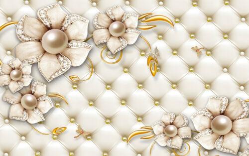 3D fleur - - non tissé-Bijou-Fleur Gold Diamond Pearl 2237 V Photo murale