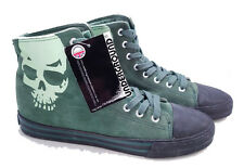Underground Dr. Martens Doc England Green Suede Leather Skull Shoes UK 10 US 11