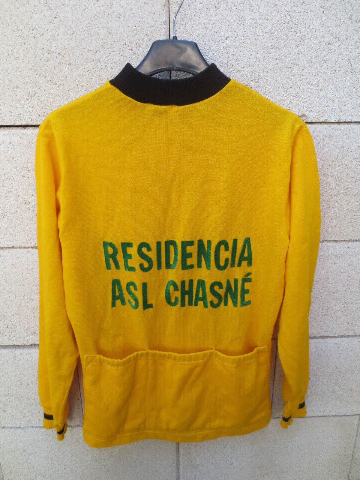 VINTAGE Maillot cycliste manches longues RESIDENCIA ASL CHASNE yellow camiseta M