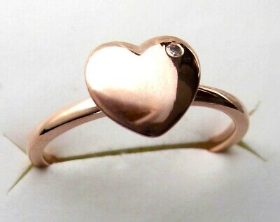 Genuine White Topaz Gold Plated 925 Sterling Silver Heart Love Ring SZ 6
