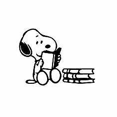 Snoopy Reading Decal Cartoon Vinyl Sticker Laptop Car Window Choose Color!