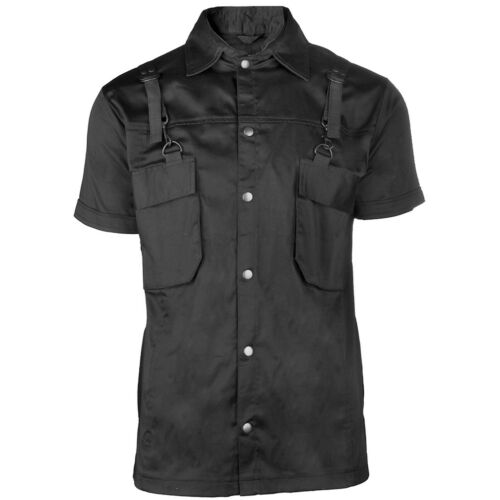 BLACK Pistol gothic goth punk Steampunk Camicia-COMBAT SHIRT SHORT fibbie