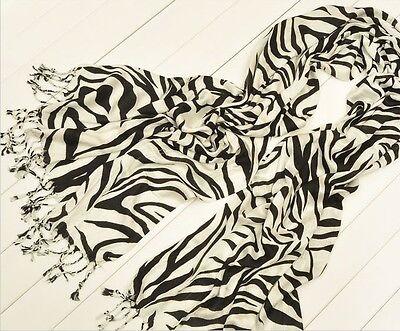 NEW Fashion Women Lady Linen Cotton Soft Zebra Stripes Tassels Scarf Wrap Shawl