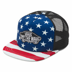 f33be2bc9d5 Image is loading VANS-Trucker-Plus-Snapback-Hat-NEW-Americana-STARS-
