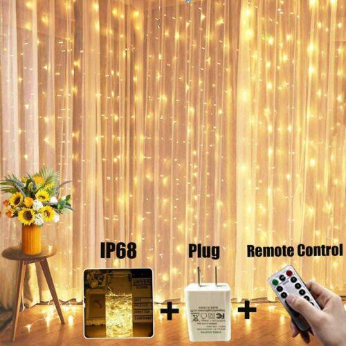 300 Waterproof LED Twinkle Lig OurWarm Window Curtain String Light 9.9x9.9 Ft