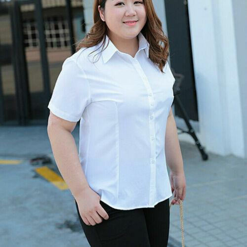 Lady Blouse White Shirt Top Office Work Formal Plus Size Long Short Sleeve Basic