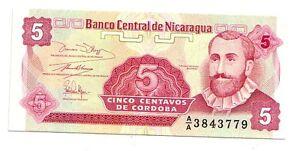 Nicaragua-5-centavos-1991-FDS-UNC-pick-168-lotto-3245