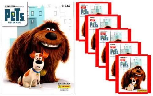 5 booster les sachets de collages Panini autocollant pets Movie sammelset album