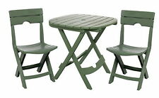 New 3 pc Outdoor Bistro Table & Chairs Set Folding Plastic Patio Furniture Green