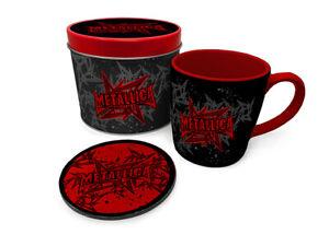 Boxed-Gift-Set-Mug-amp-Coaster-a-Gift-Tin-METALLICA-STARS-AND-WINGS-85534