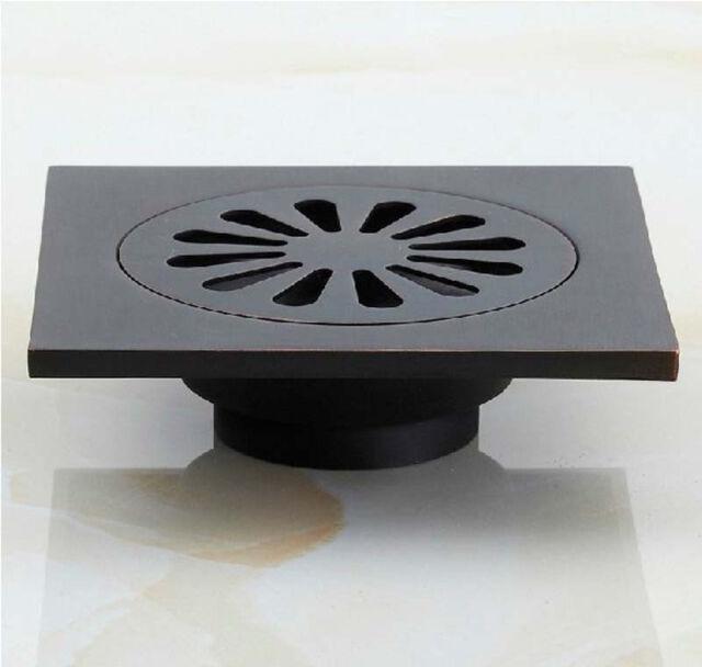 "NEW Oil Rubbed Bronze Square 4"" Bathroom Shower Floor Drain Washer Waste Drain"