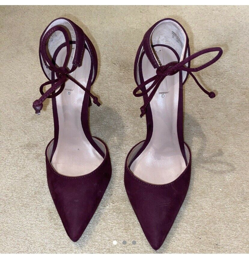 Aldo Burgundy Pointed Toe Bow Tie Heels