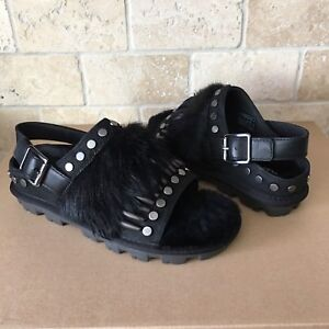 cc5584773d9 Details about UGG BIKER CHIC BLACK STUDDED FEATHER FUR SLINGBACK SANDALS  SIZE US 6 WOMENS