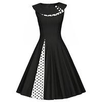 Ladies Black Polka Dot 50s Pinup Retro Rockabilly Swing Dress Bolero Flared Plus