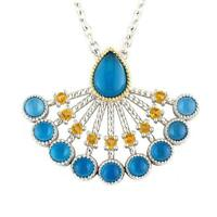 Andrea Candela 18k Yellow Gold & Silver Blue Agate Cable Necklace Acn145-bac