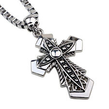 Silver box chain necklace with large gothic alloy cross and skull pendant