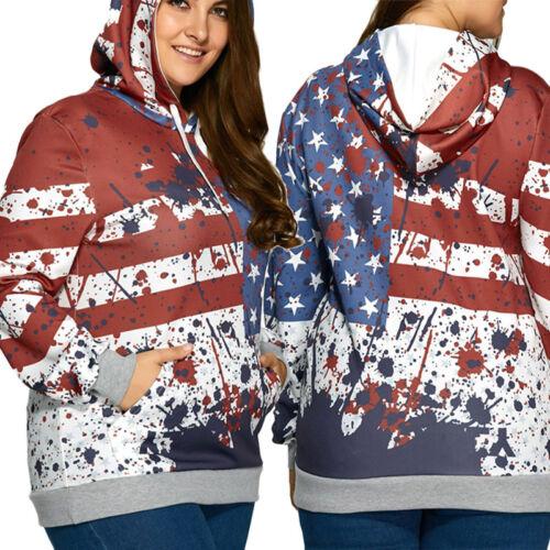 US Flag Women/'s Long Sleeve Hoodie Hooded Sweatshirt Tops Jacket Coat Outwear