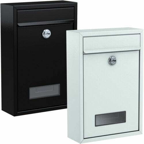 BASI® Briefkasten Schwarz Weiß Wand Brief Kasten Post Stahl Metall Mailbox
