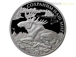 25 ROUBLES 2015 RUSSIA PROTECT OUR WORLD ELK SILVER PROOF