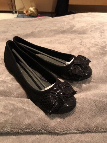 Flat Ballet New Pumps Ladies Dolly Size Ballerina 5 Slip Shoes Black On qwBHgd