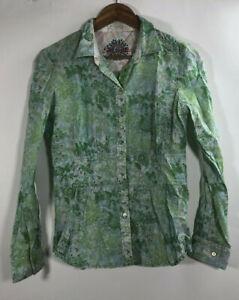 Robert-Graham-Women-039-s-Size-S-Green-Floral-Long-Sleeve-Button-Down-Shirt