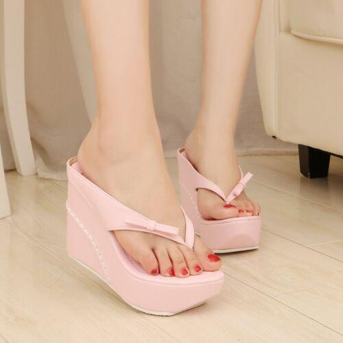Womens Slippers High Wedge Heels Slingbacak Sandals Platform Casual Shoes Pumps