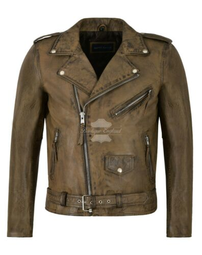 Hommes en Cuir Véritable Veste Dirty Brown Napa casual fashion style motard sr-mpmp