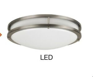brand new ae6cd fd541 Details about LED Ceiling Light Fixture Light Flush Mount Brushed Nickel  Kitchen Hallway