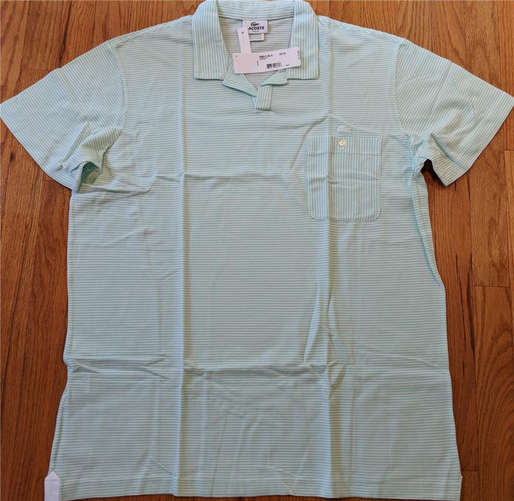 Mens Authentic Lacoste Striped Johnny Collar White Moorea Green Polo 8 2XL Slim