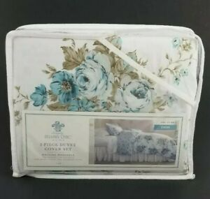 Simply Shabby Chic Aqua Rose Floral Twin Duvet W Sham New