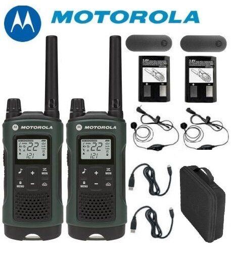 Earbuds+Case Motorola Talkabout T465 Walkie Talkie Set 35 Mile Two Way Radio