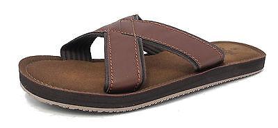 Herren Lederoptik Zehentrenner Hausschuhe Strand Sommer Schuhe Sandalen braun