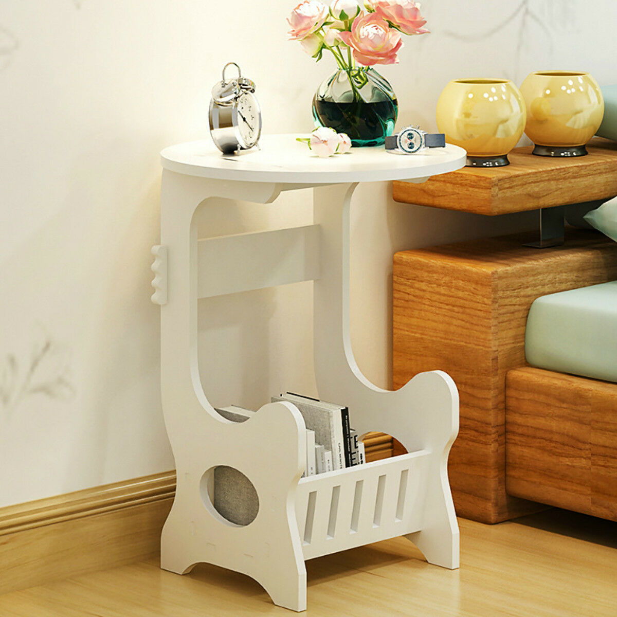 Details About Wood Table With Shelf Nightstand Bedroom Living Room Sofa Side End Table White