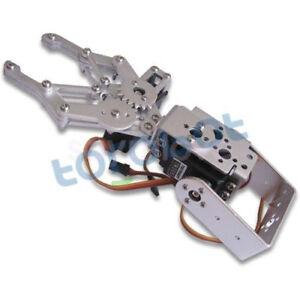 Silver-2-DOF-Aluminium-Robot-Arm-Clamp-Claw-Mount-kit-With-2pcs-MG995-Servos-DIY