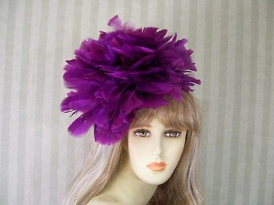 """Mother/'s Day Wedding Feather Hat 12/"""" Hot PiNk Feather Fascinator Kentucky Derby"""