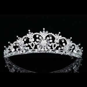 Stunning Handmade Bridal Rhinestones Crystal Flower Wedding Crown Tiara 8730