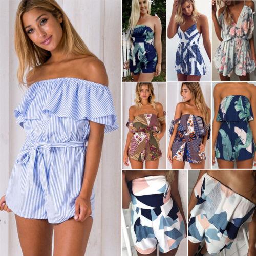 Damen Sommer Overall Playsuit Jumpsuit Einteiler Shorts Strand Hose Minikleider
