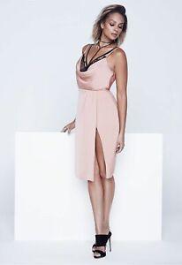 Alesha Dixon Eyelash Lace Slip Dress in Blush womens size 14 *REF58
