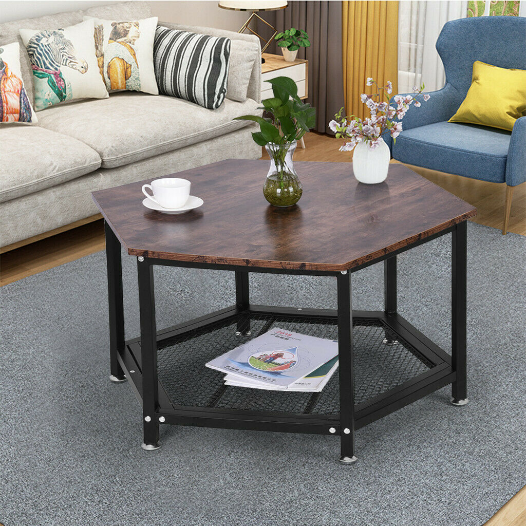 Hexagon Coffee Table With Storage Shelf Rack Living Room Steel Wood Rustic  Brown
