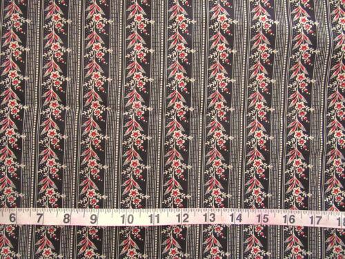 Strips Black//Lt Cream//Red Floral 100/% Cotton Fabric Baum Textiles