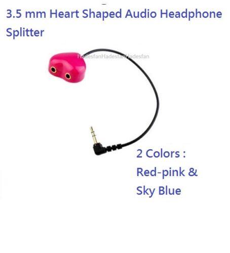 3.5 mm Heart Shaped Audio AUX Headphone Earphone Splitter 2 Colors Music Share
